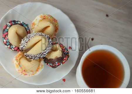 Valentine Fortune Cookies On Plate For Special Day