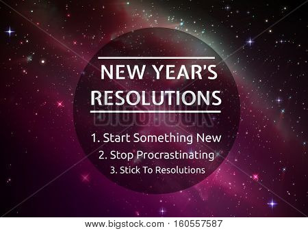 List of new year resolution goals against digitally generated background