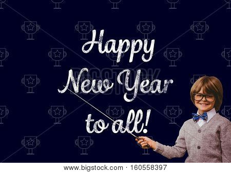 Portrait of smiling boy pointing with stick at new year greeting quotes