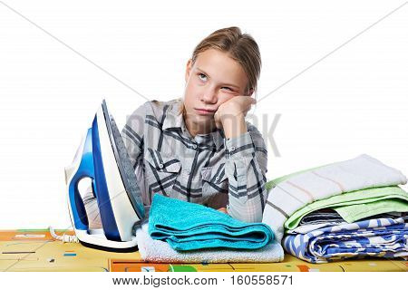 Tired Girl With Washed Linen Around Ironing Board And Iron Isolated