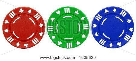 Colorful Red Green And Blue Clay Poker Chips