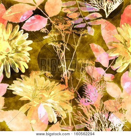 art vintage watercolor floral seamless pattern with old gold and pink asters, leaves and grasses on brown background