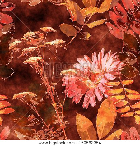 art vintage watercolor floral seamless pattern with monochrome orange and pink asters, leaves and grasses on brown background