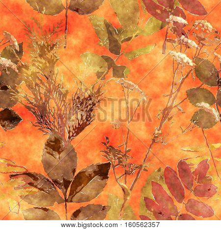 art vintage watercolor floral seamless pattern with monochrome orange gold leaves and grasses on orange background