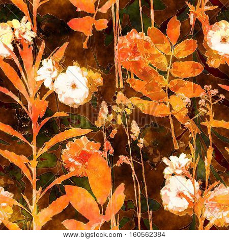 art vintage watercolor floral seamless pattern with monochrome orange gold roses, peonies, asters, leaves and grasses on brown background