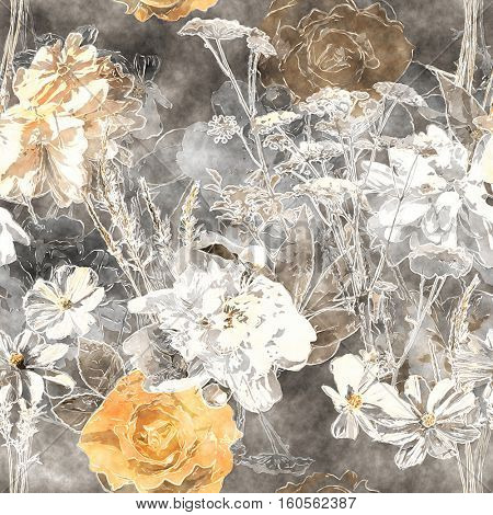 art vintage watercolor floral seamless pattern with monochrome white and old gold roses, peonies, asters, leaves and grasses on grey background