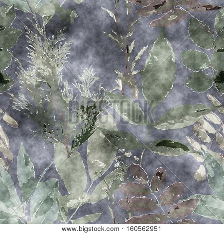art vintage watercolor floral seamless pattern with monochrome grey green leaves and grasses on dark grey background