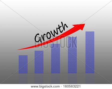 Illustration of Bar graph representing business growth
