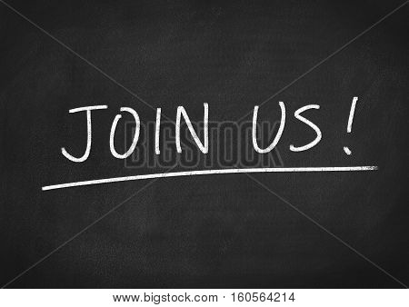 join us concept text on blackboard background