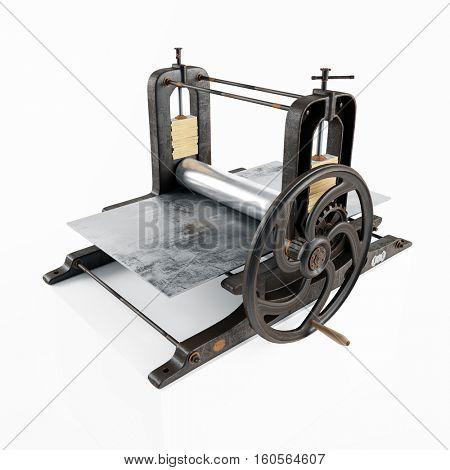 vintage printing press machine isolated. 3d rendering