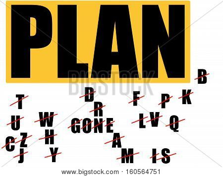 Plan A, Plan B, Plan C... Words include: Why dream is gone. Concept of successful strategy.