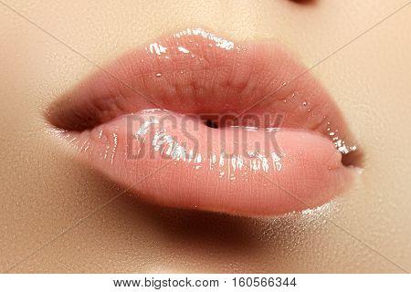 Close-up Of A Beautiful Sexy Natural Lips Giving Kiss. Full Lips