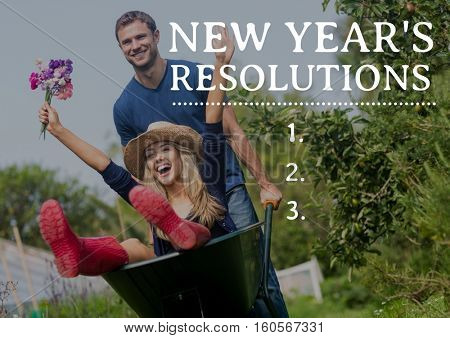 Composite image of new year resolutions against couple enjoying with wheel barrow