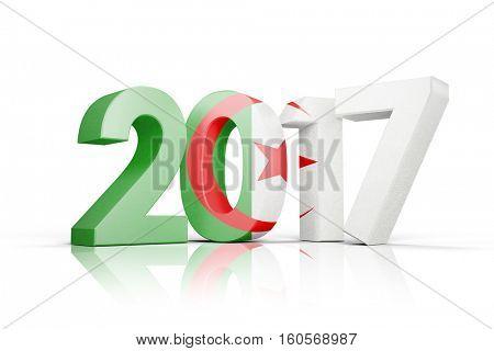 Algeria national flag against illustration of new year number