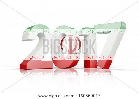 Iran national flag against illustration of new year number