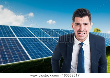 Angry Male In Solar Power Station