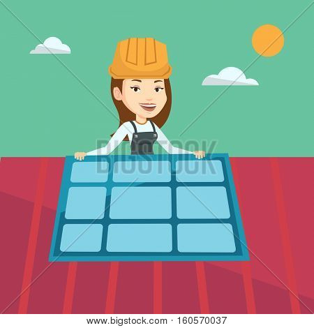 Young caucasian woman installing solar panels on roof. Technician in inuform and hard hat checking solar panel on roof. Eengineer adjusting solar panel. Vector flat design illustration. Square layout.