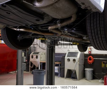 Empty Interior Of Auto Mechanic Garage