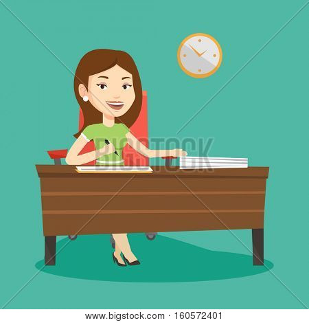 Woman signing business documents in office. Woman is about to sign a business agrement. Confirmation of transaction by signing of business contract. Vector flat design illustration. Square layout.