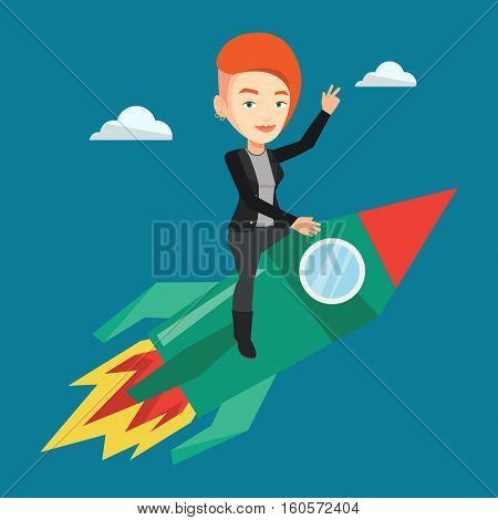 Young businesswoman flying on business start up rocket. Caucasian businesswoman waving on business start up rocket. Business start up concept. Vector flat design illustration. Square layout.