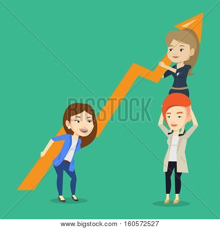 Three caucasain business women holding growth graph. Cheerful business team with growth graph. Concept of business growth, teamwork and partnership. Vector flat design illustration. Square layout.