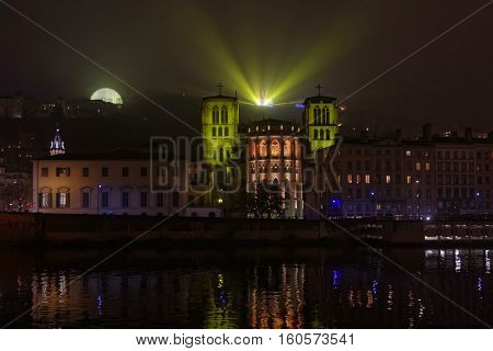 Lyon, France, December 7, 2016 : Lights On The Cathedral Saint-jean And Fourviere Basilica. The Fest