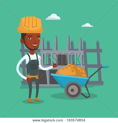 Young builder in hard hat giving thumb up. An african-american builder with thumb up standing near wheelbarrow. Builder at work on construction site. Vector flat design illustration. Square layout.