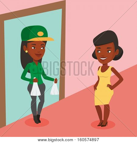 Delivery courier delivering online shopping order. Woman receiving packages with groceries from delivery courier. Woman delivering groceries to customer. Vector flat design illustration. Square layout