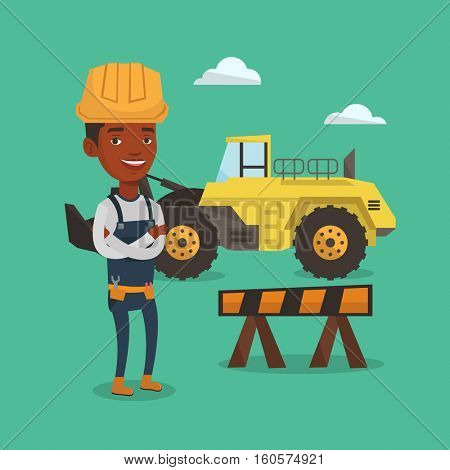 Young builder standing with arms crossed. Confident builder in hard hat. An african-american builder standing on the background of construction site. Vector flat design illustration. Square layout.