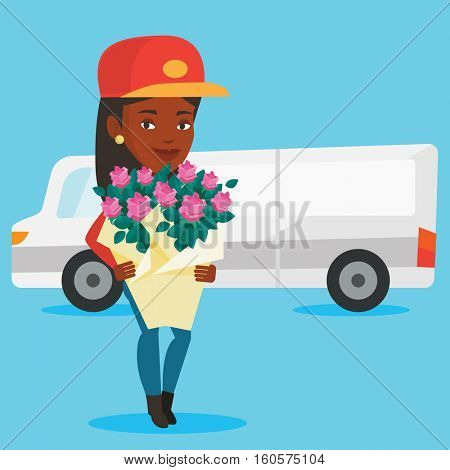 African-american courier with flowers on background of delivery truck. Delivery courier holding bouquet of flowers. Delivery courier delivering flowers. Vector flat design illustration. Square layout