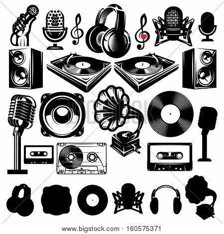 set of retro templates for karaoke disco party radio singing