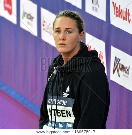 Hong Kong China - Oct 29 2016. Competitive swimmer Jeanette OTTESEN (DEN) at the Victory Ceremony of the Women'sFreestyle 50m. FINA Swimming World Cup Victoria Park Swimming Pool.