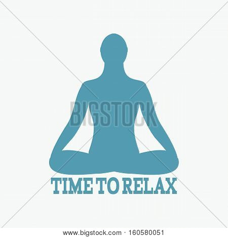 Meditation icon. human meditating in lotus pose..Vector Yoga Pose. Fitness gym and Sport.Relax and zen.
