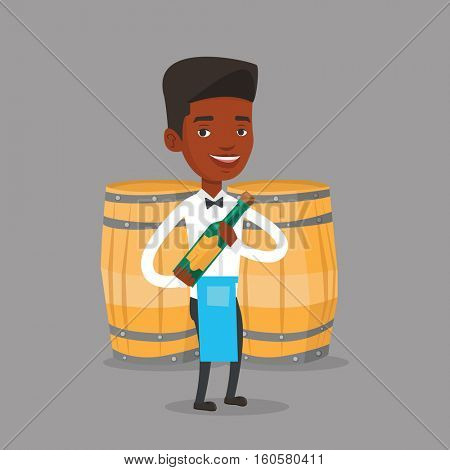 An african waiter holding a bottle of wine. Waiter with bottle in hands standing on the background of wine barrels. Waiter presenting a wine bottle. Vector flat design illustration. Square layout.