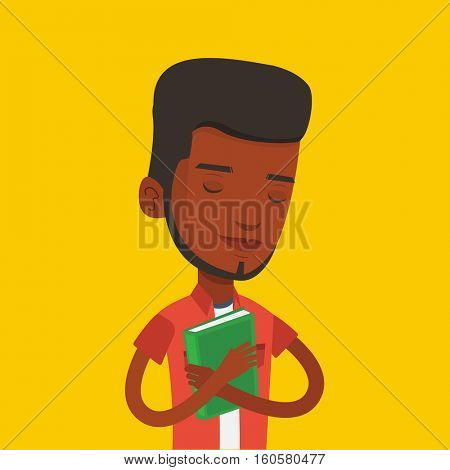 African-american student hugging her book. Happy joyful student likes read books. Peaceful student with eyes closed holding a book. Concept of education. Vector flat design illustration. Square layout