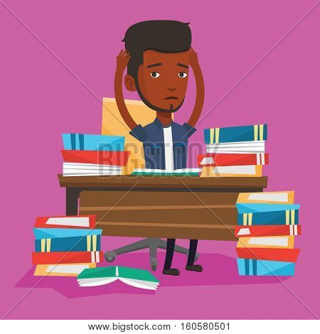 Young stressed student studying with textbooks. An african-american student studying hard before exam. Desperate male student studying in the library. Vector flat design illustration. Square layout.