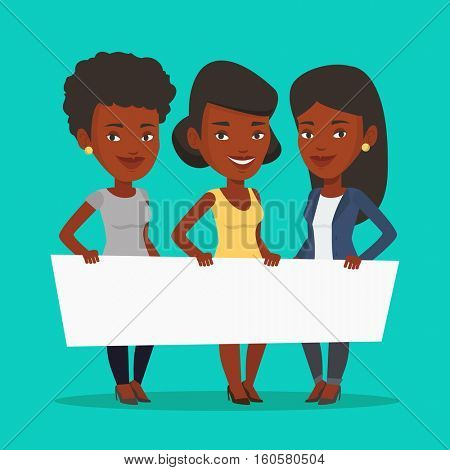 Three young african-american women holding white blank board. Group of young students holding an empty board. Group of friends showing white board. Vector flat design illustration. Square layout.