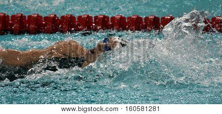 Hong Kong China - Oct 29 2016. Olympic world and European champion World record holder swimmer Katinka HOSSZU (HUN) swimming in Women's Backstroke 200m Final. FINA Swimming World Cup.