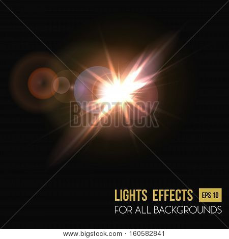 Background or backdrop of camera lens light effect. Glowing flare or lens burst effect, radiance of halo light effect for poster background. For sunlight or sunrise backdrop, abstract flare for flyer