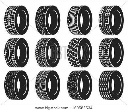 Tire or wheel for truck or bus, automobile tyre. Winter protector isolated or transport wheel icons, tractor tyre with track. Vulcanization or garage, rally sport or tire mount, car maintenance logo