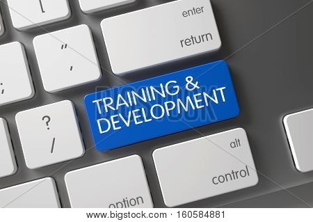 Training and Development Concept: Slim Aluminum Keyboard with Training and Development, Selected Focus on Blue Enter Keypad. 3D Illustration.