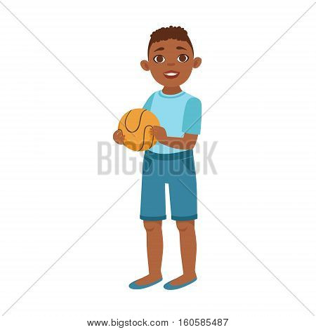 Black Teenage Boy With Ball, Part Of Growing Stages With Kids In Different Age Vector Set. Cartoon Character Development Process Stage Collection Piece Vector Illustration.