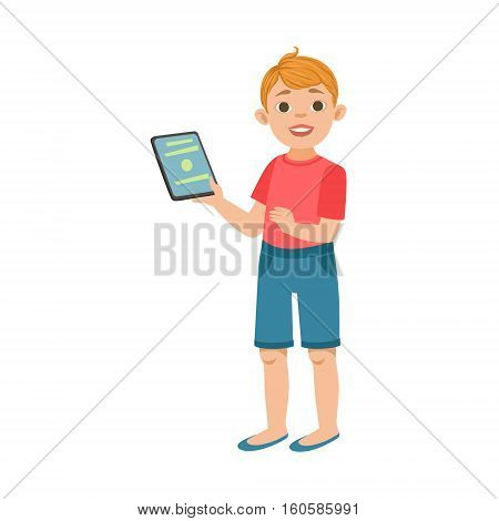 White Teenage Boy With Tablet, Part Of Growing Stages With Kids In Different Age Vector Set. Cartoon Character Development Process Stage Collection Piece Vector Illustration.