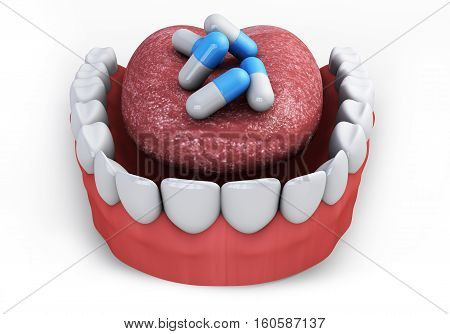pills in the mouth 3d render on a white background