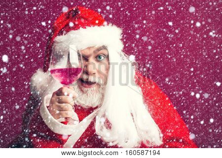 Winking Christmas Man With Wine Glass