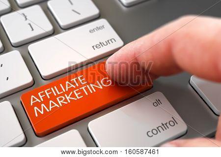 Computer User Presses Affiliate Marketing Orange Button. 3D Illustration.