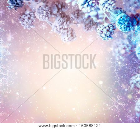 Winter Holiday Snow Background. Snowflakes. Beautiful Christmas and New Year abstract Blue Backdrop with snow. Christmas winter frame art design.