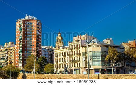 Buildings at the ancient riverside in Valencia - Spain