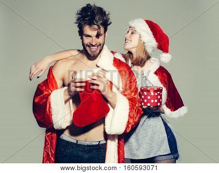 Happy Christmas Couple Of Santa