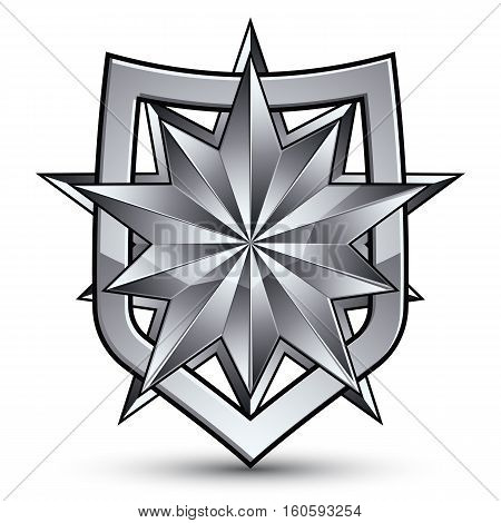 Branded Gray Geometric Symbol, Stylized Silver Star, Best For Use In Web And Graphic Design, Corpora
